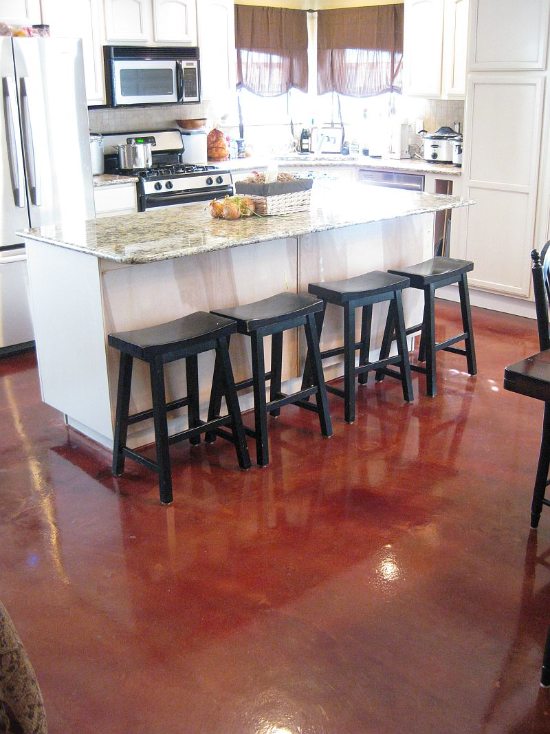 stained concrete floors kitchen. red stained floor concrete floors